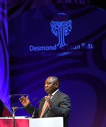 Cape Town-181007-President Cyril Ramaphosa addresses the audience at the Desmond Tutu Annual Peace Lecture hosted at the Artscape in Cape Town.The president comes to this address under lot of pressure from the public and political parties who want him to fire Minister of Finance Nhlanhla Nene because of his engagement with the Gupta family.Desmond Tutu is who is always present at this lecture is hospitalised  .Photographer:Phando Jikelo/African News Agency(ANA)