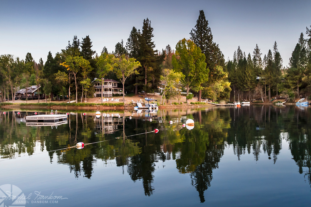 Pine Mountain Lake, near Groveland, California on Highway 120, view of shore and reflections