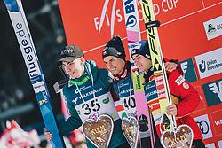 15.02.2020, Kulm, Bad Mitterndorf, AUT, FIS Ski Flug Weltcup, Kulm, Herren, Siegerehrung, im Bild 2. Platz Timi Zajc (SLO), Sieger Piotr Zyla (POL), 3. Platz Stefan Kraft (AUT) // 2nd placed Timi Zajc of Slovenia Winner Piotr Zyla of Poland 3rd placed Stefan Kraft of Austria during the winner ceremony for the men's FIS Ski Flying World Cup at the Kulm in Bad Mitterndorf, Austria on 2020/02/15. EXPA Pictures © 2020, PhotoCredit: EXPA/ JFK