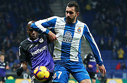 January 4, 2019 - Barcelona, Spain - Borja Iglesias and Nyom during the match between RCD Espanyol and CD Leganes, corresponding to the week 18 of the Liga Santander, played at the RCDE Stadium on 04th January 2019 in Barcelona, Spain. (Credit Image: © Joan Valls/NurPhoto via ZUMA Press)