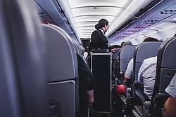 THEMENBILD - eine Stewardess bedient die Fluggäste, aufgenommen am 17. August 2018 in Larnaka, Zypern // a stewardess serves drinks and food the passengers, Larnaca, Zyprus on 2018/08/17. EXPA Pictures © 2018, PhotoCredit: EXPA/ JFK