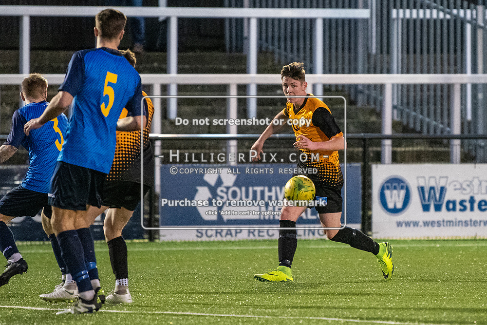 BROMLEY, UK - JANUARY 04: Lee Lewis, of Cray Wanderers FC, during the BetVictor Isthmian Premier League match between Cray Wanderers and Wingate & Finchley at Hayes Lane on January 4, 2020 in Bromley, UK. <br /> (Photo: Jon Hilliger)
