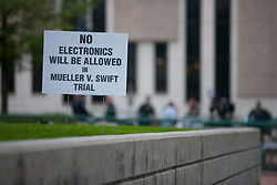 August 8, 2017 - Denver, Colorado, U.S - A sign about No Electronics Allowed in the lawn at the Taylor Swift Groping Trial against radio DJ David Mueller at the Alfred A. Arraj United States Courthouse in Denver, Colorado, U.S., on Tuesday, August 8, 2017. (Credit Image: © Matthew Staver via ZUMA Wire)