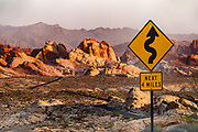 Valley of Fire State Park, Moapa Valley, Nevada, USA. Starting more than 150 million years ago, great shifting sand dunes during the age of dinosaurs were compressed, uplifting, faulted, and eroded to form the park's fiery red sandstone formations.