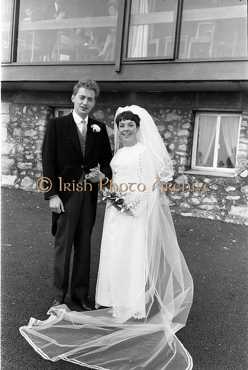 """16/09/1967<br /> 09/16/1967<br /> 16 September 1967<br /> Wedding of Mr Francis W. Moloney, 28 The Stiles Road, Clontarf and Ms Antoinette O'Carroll, """"Melrose"""", Leinster Road, Rathmines at Our Lady of Refuge Church, Rathmines, with reception in Colamore Hotel, Coliemore Road, Dalkey. Image shows the Bride and Groom outside the hotel."""