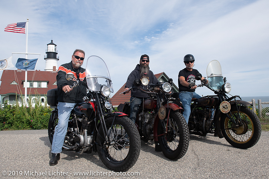 Brent Mayfield, Shane Masters and Jason Wadzinski at the start of the Motorcycle Cannonball coast to coast vintage run. Portland, ME. Friday September 7, 2018. Photography ©2018 Michael Lichter.