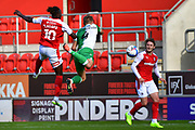 Freddie Ladapo, Shaun Hutchinsdon during the EFL Sky Bet Championship match between Rotherham United and Millwall at the AESSEAL New York Stadium, Rotherham, England on 19 September 2020.