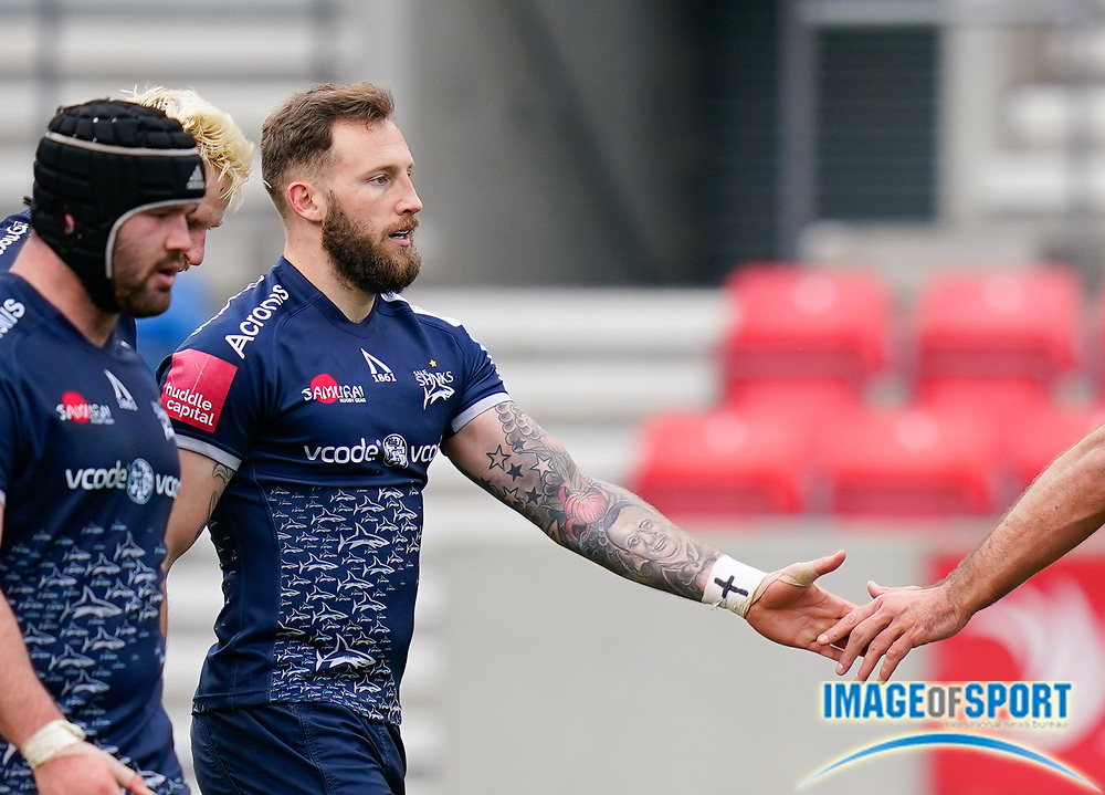Sale Sharks wing Byron McGuigan after scoring one of his tries during a Gallagher Premiership Round 14 Rugby Union match, Sunday, Mar 21, 2021, in Eccles, United Kingdom. (Steve Flynn/Image of Sport)