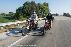 Alex Trepanier (L) of California riding his single-cylinder single-speed 1913 Indian class-1 bike alongside Doug Jones on his 1914 Indian Model 260 Standard during the Motorcycle Cannonball Race of the Century. Day-4 ride from Bloomington, IN to Cape Girardeau, MO. USA. Wednesday September 14, 2016. Photography ©2016 Michael Lichter.