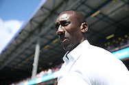 Jimmy Floyd Hasselbaink, the QPR manager looks on from touchline. . Skybet EFL championship match, Queens Park Rangers v Leeds United at Loftus Road Stadium in London on Sunday 7th August 2016.<br /> pic by John Patrick Fletcher, Andrew Orchard sports photography.