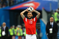 June 19, 2018 - Saint Petersburg, Russia - Fedor Kudriashov of the Russia national football team vie for the ball during the 2018 FIFA World Cup match, first stage - Group A between Russia and Egypt at Saint Petersburg Stadium on June 19, 2018 in St. Petersburg, Russia. (Credit Image: © Igor Russak/NurPhoto via ZUMA Press)