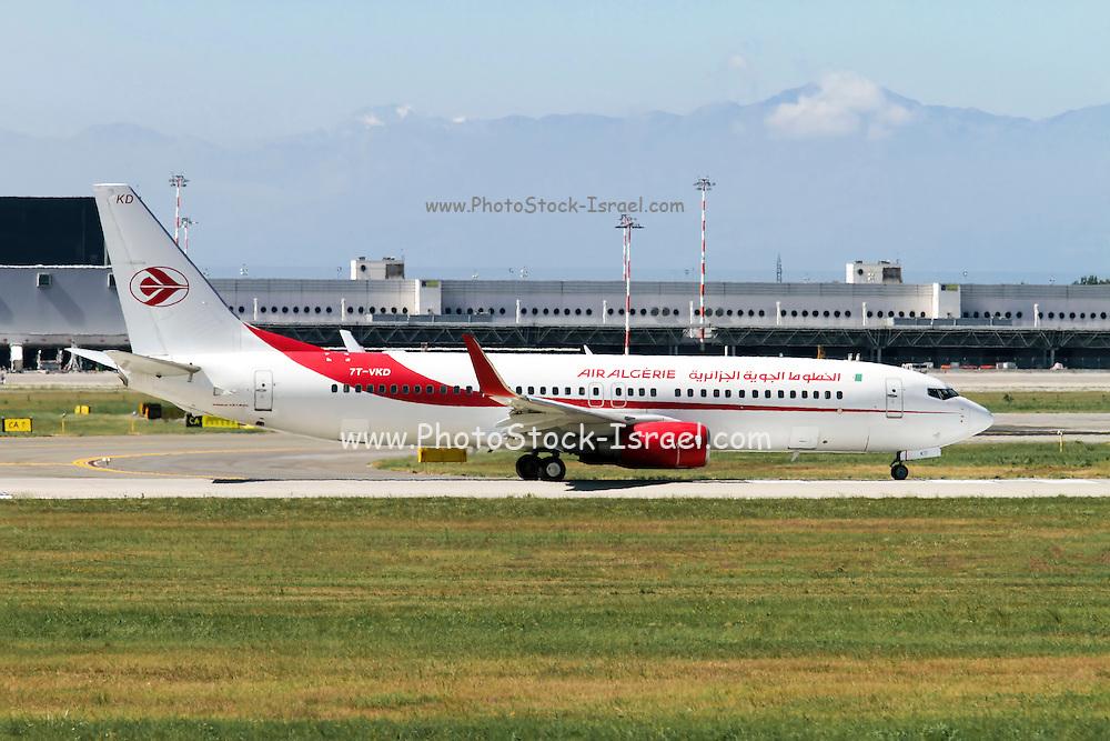 Air Algerie Boeing 737 Next Gen, at Malpensa airport, Milan, Italy