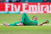 Pakistan womens cricket player Asmavia Iqbal Khokhar sees the funny side of a fielding attempt during the ICC Women's World Cup match between England and Pakistan at the Fischer County Ground, Grace Road, Leicester, United Kingdom on 27 June 2017. Photo by Simon Davies.