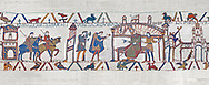 Bayeux Tapestry scene 25: Harold reports to Edward thr Confessor about his mission to see Williams in Normandy. BYX25 .<br /> <br /> If you prefer you can also buy from our ALAMY PHOTO LIBRARY  Collection visit : https://www.alamy.com/portfolio/paul-williams-funkystock/bayeux-tapestry-medieval-art.html  if you know the scene number you want enter BXY followed bt the scene no into the SEARCH WITHIN GALLERY box  i.e BYX 22 for scene 22)<br /> <br />  Visit our MEDIEVAL ART PHOTO COLLECTIONS for more   photos  to download or buy as prints https://funkystock.photoshelter.com/gallery-collection/Medieval-Middle-Ages-Art-Artefacts-Antiquities-Pictures-Images-of/C0000YpKXiAHnG2k