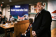 26 MARCH 2021 - URBANDALE, IOWA: MIKE POMPEO, former Secretary of State during the Trump Administration, waits to speak at the Machine Shed Restaurant. Pompeo, who served as the Director of the CIA and Secretary of State in the Trump Administration, spoke to about 200 people during the Westside Conservative Club meeting at the Machine Shed Restaurant in Urbandale, IA, Friday morning. Pompeo, who is often mentioned as a possible Republican presidential candidate in 2024, did not talk about any plans to run for President, spending most of the time talking about what he thought were the foreign policy accomplishment of the Trump Administration and encouraging Republicans to tighten voting rules.     PHOTO BY JACK KURTZ