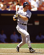 KANSAS CITY - 1995:  Paul O'Neill of the New York Yankees bats during an MLB game versus the Kansas City Royals at Kaufmann Stadium in Kansas City, Missouri during the 1995 season. (Photo by Ron Vesely) Subject:   Paul O'Neill
