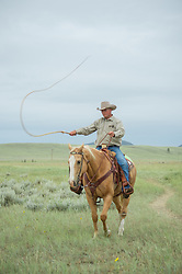 "The Nature Conservancy's Matador Ranch Operations Manager Charlie Messerly works with 13 ranching families in Eastern Montana  at the Matador ranch ""grass bank"". The ""grass bank"" is an innovative way to leverage conservation gains, in which ranchers can graze their cattle at discounted rates on Conservancy land in exchange for improving conservation practices on their own ""home"" ranches. In 2002, the <br /> Conservancy began leasing parts of the ranch to neighboring ranchers who were suffering from  severe drought, offering the Matador's grass to neighboring ranches in exchange for their  participation in conservation efforts. The grassbank has helped keep ranchers from plowing up native grassland to farm it; helped remove obstacles to pronghorn antelope migration; improved habitat for the Greater Sage-Grouse and reduced the risk of Sage-Grouse colliding with fences; preserved prairie dog towns and prevented the spread of noxious weeds. (Photo By Ami Vitale)"
