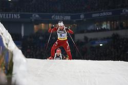 28.12.2013, Veltins Arena, Gelsenkirchen, GER, IBU Biathlon, Biathlon World Team Challenge 2013, im Bild Fanny Welle-Strand Horn (Norwegen / Norway) vor, front of Laura Dahlmeier (Deutschland / Germany) // during the IBU Biathlon World Team Challenge 2013 at the Veltins Arena in Gelsenkirchen, Germany on 2013/12/28. EXPA Pictures © 2013, PhotoCredit: EXPA/ Eibner-Pressefoto/ Schueler<br /> <br /> *****ATTENTION - OUT of GER*****