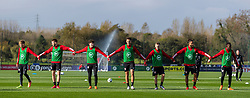 CARDIFF, WALES - Wednesday, October 7, 2020: Wales' (L-R) Matthew Smith, Rhys Norrington-Davies, Neco Williams, Ethan Ampadu, Joseff Morrell, Tyler Roberts, Rabbi Matondo during a training session at the Vale Resort ahead of the International Friendly match against England. (Pic by David Rawcliffe/Propaganda)