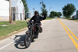 Jon Dobbs riding his 1916 Harley-Davidson model J on the Motorcycle Cannonball coast to coast vintage run. Stage 6 (260 miles) from Bourbonnais, IL to Cedar Rapids, IA. Thursday September 13, 2018. Photography ©2018 Michael Lichter.