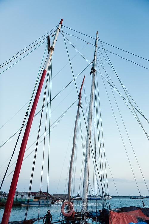 Masts of sailing boats from Rote island at Wangi-Wangi, Wakatobi National Park, South East Sulawesi, Indonesia.<br /> <br /> Kapal pelaut dari Pulau Rote di Pulau Wangi-Wangi, Taman Nasional Wakatobi, Kepulauan Tukang Besi, Sulawesi Tenggara, Indonesia