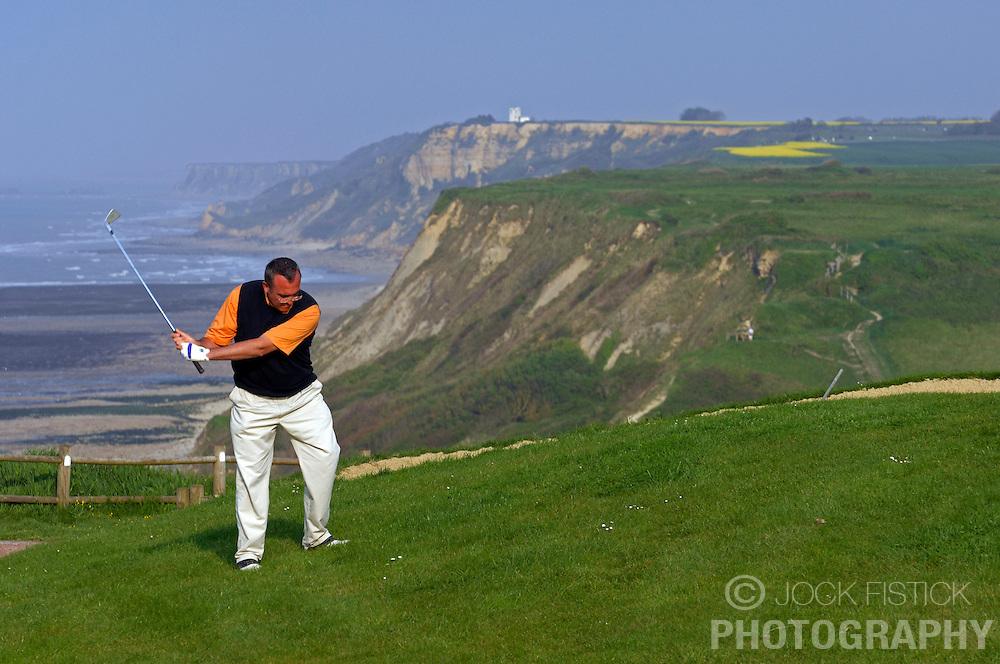 Photographed for Golf Magazine<br /> <br /> Omaha Beach Golf Club Pro Nicolas Poillot. Course: La Mer (The Sea) - Hole 6 - 469 yards - Par 4. (Photo © Jock Fistick)