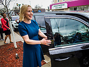 17 APRIL 2019 - DES MOINES, IOWA: US Senator KIRSTEN GILLIBRAND (D-NY) walks back to her car after a meet and greet with Drake University students at a restaurant in Des Moines. Gillibrand is touring Iowa this week to support her candidacy to be the Democratic nominee for the US Presidency. Iowa traditionally hosts the the first selection event of the presidential election cycle. The Iowa Caucuses will be on Feb. 3, 2020.               PHOTO BY JACK KURTZ