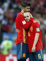 Gerard Pique of Spain, Andres Iniesta of Spain during the 2018 FIFA World Cup Russia round of 16 match between Spain and Russia at the Luzhniki Stadium on July 01, 2018 in Moscow, Russia