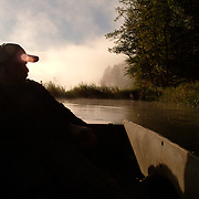 9/11/04 -- ANDROSCOGGIN RIVER, Lisbon Falls, Maine. Early morning boat trip with Dan Dwinal. Wildlife feature hunting.  Photo © 2004 by Roger S. Duncan.