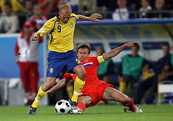 Fredrik Ljungberg of Sweden (9) and Sergei Semak of Russia (11) during the UEFA EURO 2008 Group D soccer match between Sweden and Russia at Stadion Tivoli NEU, on June 18,2008, in Innsbruck, Austria. Russia won 2:0. (Photo by Vid Ponikvar / Sportal Images)