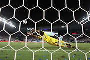 Seattle Sounders FC goalkeeper Michael Gspurning (1) makes a diving stop in the match between the Seattle Sounders FC and Sporting Kansas City of the Lamar Hunt U.S. Open Cup Championship from LIVESTRONG Sporting Park in Kansas City, Kansas. Sporting KC defeated the Sounders to win the Cup.