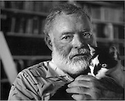 Hemingway at his home in Cuba.