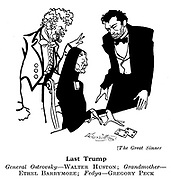 Punch cartoons by Robert Sherriffs..Film Review ;  ..The Great Sinner ;  Walter Huston , Ethel Barrymore , Gregory Peck