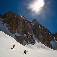 Ski Mountaineers descend the Palisade Glacier in California's Sierra Nevada.