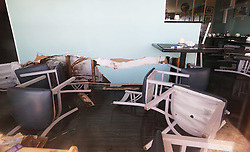 October 8, 2016 - St. Augustine, FL, USA - Damage by flooding at Mary's Harbor View Cafe by Hurricane Matthew in St. Augustine, Fla., on Saturday, Oct. 8, 2016. (Credit Image: © Ricardo Ramirez Buxeda/TNS via ZUMA Wire)