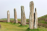 Standing stones of the Ring o' Brodgar a neolithic stone circle dating from approximately 2500 BC, Orkney Islands Scotland
