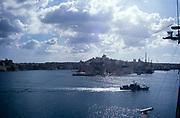 Historic city centre of Valletta, Malta seen from ship in 1998
