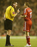 Photo: Aidan Ellis.<br /> Liverpool v Watford. The Barclays Premiership. 23/12/2006.<br /> Referee Phil Dowd gives Liverpool's Craig Bellamy a verbal warning