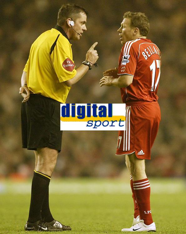 Photo: Aidan Ellis.<br /> Liverpool v Watford. The Barclays Premiership. 23/12/2006.<br /> Referee Phil Dowd gives Liverpool's Craig Bellamy a verbal warning