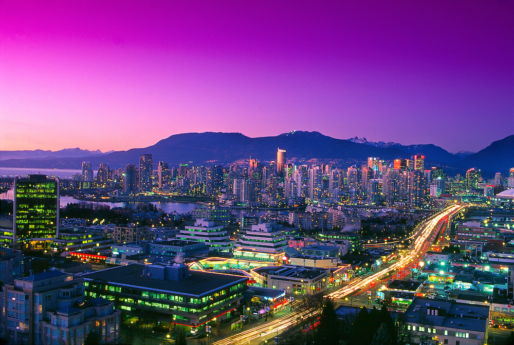 Downtown Vancouver at twilight, Vancouver, British Columbia, Canada