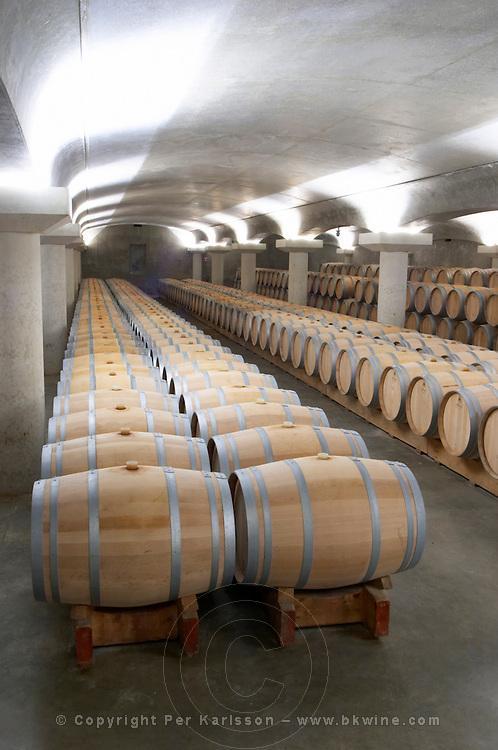 barrel aging cellar chateau la garde pessac leognan graves bordeaux france