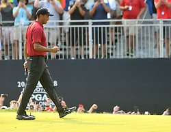 August 12, 2018 - St. Louis, Missouri, U.S. - ST. LOUIS, MO - AUGUST 12: Tiger Woods reacts after finishing second during the final round of the PGA Championship on August 12, 2018, at Bellerive Country Club, St. Louis, MO.  (Photo by Keith Gillett/Icon Sportswire) (Credit Image: © Keith Gillett/Icon SMI via ZUMA Press)