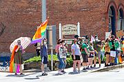 Demonstrators line Chestnut Street during the Mifflinurg Pride Event.