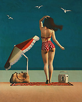 This retro-style painting is an exciting painting idea for your home showcasing a beautiful woman in a retro-style painting. Many women love to spend their summer in the beach but for some it is just not an option as they must work and take care of their family as well. This painting will give her the chance to relax with her loved ones while enjoying the sea breeze, sand, and sea shells. You can transform your bedroom or dining room into your own private getaway during the summer with these fantastic painting ideas for your house.<br /> <br /> Beach pin up art is one of the hottest painting ideas for summer. This retro-style painting of a woman on the beach will appeal to any women in your home who enjoys pin up girls artwork.  Use your imagination to create an original look for your home using this theme.