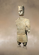 9th century BC Giants of Mont'e Prama  Nuragic stone statue of an archer, Mont'e Prama archaeological site, Cabras. Museo archeologico nazionale, Cagliari, Italy. (National Archaeological Museum) - Art Background .<br />  <br /> If you prefer to buy from our ALAMY STOCK LIBRARY page at https://www.alamy.com/portfolio/paul-williams-funkystock/nuragic-artefacts.html - Type intoo the LOWER SEARCH WITHIN GALLERY box to refine search by adding background colour, etc<br /> <br /> Visit our NURAGIC PHOTO COLLECTIONS for more photos to download or buy as wall art prints https://funkystock.photoshelter.com/gallery-collection/Nuragic-Nuraghe-Towers-Nuragic-Artefacts-of-Sardinia-Pictures-Images/C0000M6ZtTuHVsSo