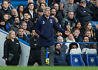 Football - 2019 / 2020 Premier League - Chelsea vs. West Ham United<br /> <br /> Manuel Pellegrini, manager of West Ham United,  pleads with his players to perform at Stamford Bridge <br /> <br /> COLORSPORT/DANIEL BEARHAM