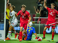 ANTWERP - BELFIUS EUROHOCKEY Championship  . Belgium v Spain (men) (5-0).  Tom Boon (Belgie) with goalkeeper Francisco Cortes (Esp) . Tom Boon scores. right Felix Denayer (Belgie)  WSP/ KOEN SUYK