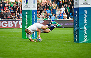 England fly-half Harry Mallinder dives over to score his second try during the World Rugby U20 Championship Final   match England U20 -V- Ireland U20 at The AJ Bell Stadium, Salford, Greater Manchester, England onSaturday, June 25, 2016. (Steve Flynn/Image of Sport)