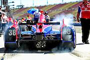 14-15 September, 2012, Fontana, California, USA.Graham Rahal (38) burnout.(c)2012, Jamey Price.LAT Photo USA