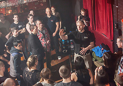 Tommy Blom addresses the students. IKMS 'In The Club' seminar with KMG Global Team Instructor and Expert Level 5, Tommy Blom, at the Buff Club in Glasgow's City Centre. Bringing Krav Maga training out with the confines of the gym into a real nightclub/bar.<br /> © Michael Schofield.